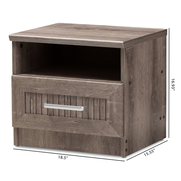 Gallia Rustic (1-Drawer 1-Shelf) Wood Nightstand