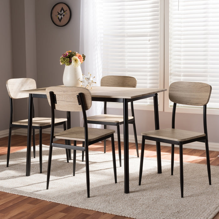 Honore Mid-Century Wood 5-Piece Dining Set
