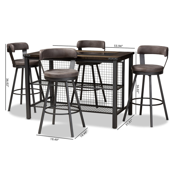 Arcene Industrial 5-Piece Fabric Pub Set