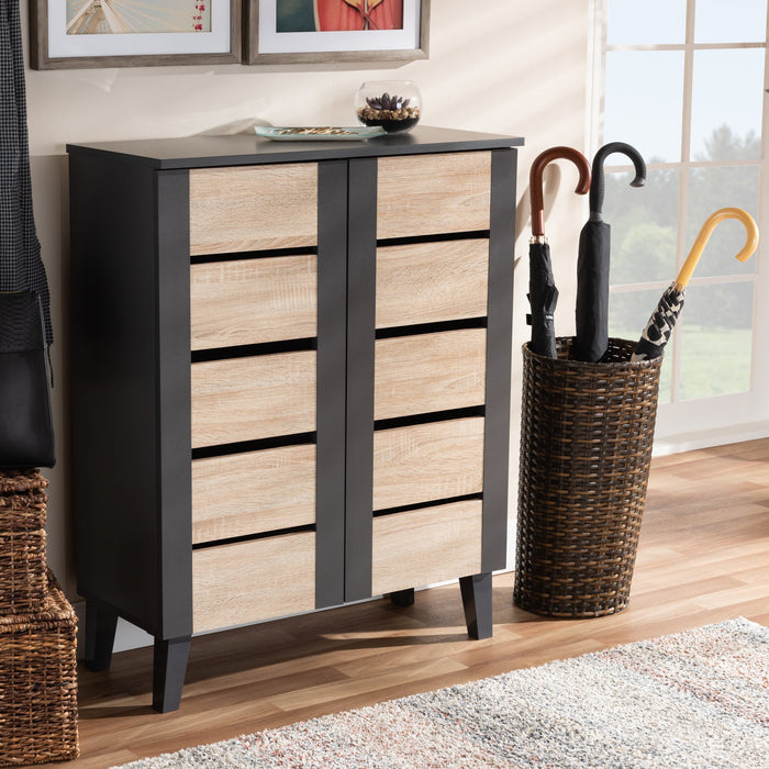 Melle Contemporary (2-Tone 2-Door) Wood Shoe Cabinet