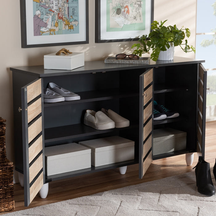 Gisela Contemporary (2-Tone 3-Door) Wood Shoe Cabinet