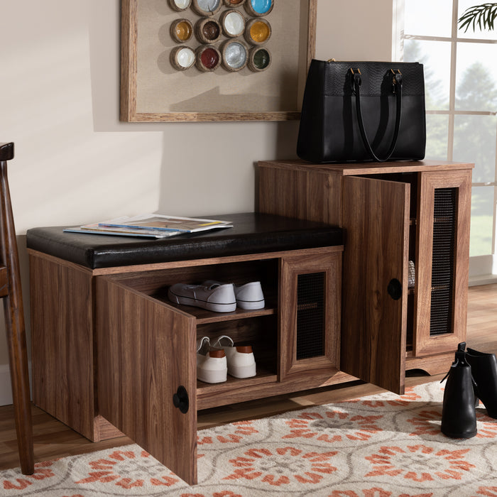 Valina Contemporary (2-Door) Leather Storage Bench