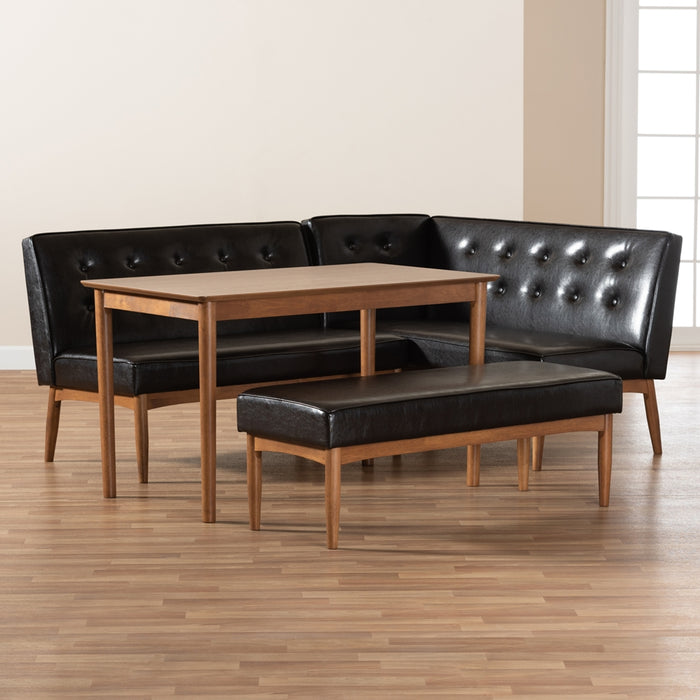 Arvid Mid-Century Leather 4-Piece Dining Nook Set