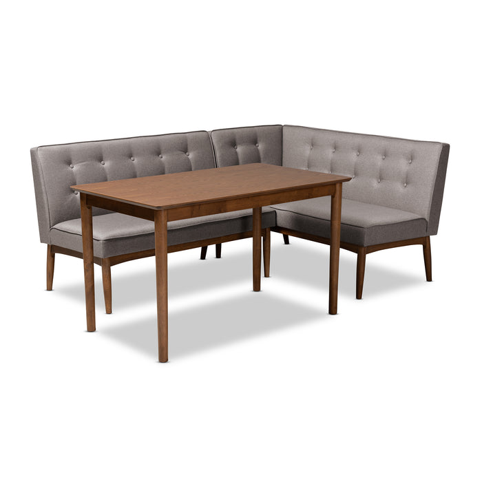 Arvid Mid-Century Wood 3-Piece Dining Nook Set