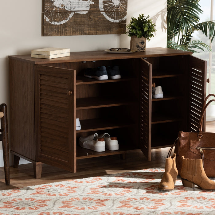 Coolidge Contemporary 8-Shelf Wood Shoe Cabinet