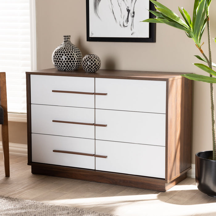 Mette Mid-Century (6-Drawers) Wood Dresser