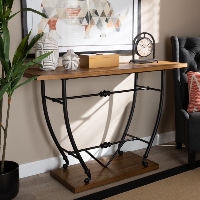 Leigh Rustic Wood and Metal Console Table