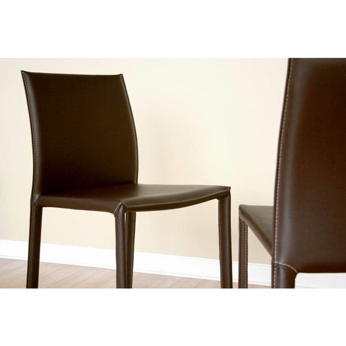Brown Modern (Set of 2) Leather Dining Chair