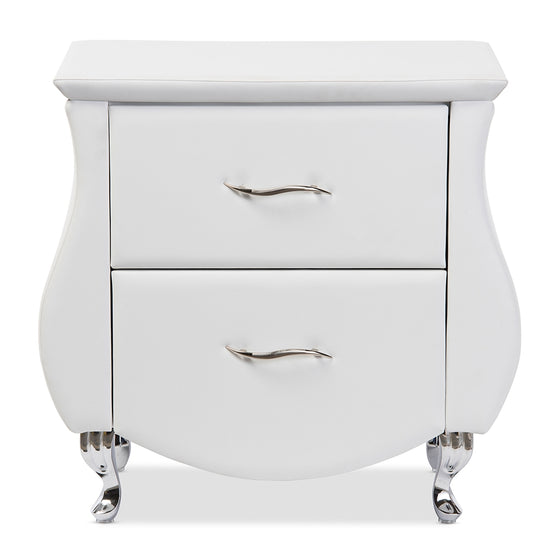 Erin Leather Nightstand (White)