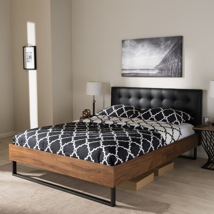 Mitchell Industrial Wood Platform Bed