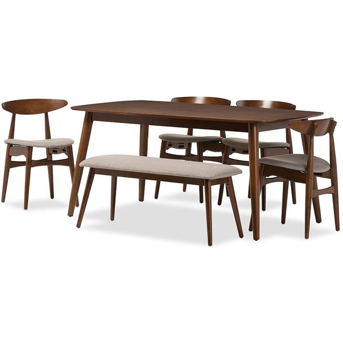 Flora Mid-Century Wood 6-Piece Dining Set