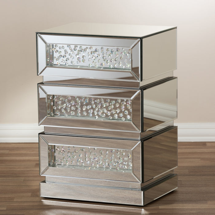 Sabrina Glam Style (3-Drawer) Mirrored Nightstand