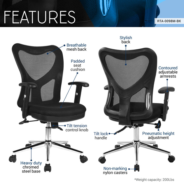 Techni Mobili Mesh High Back Office Chair