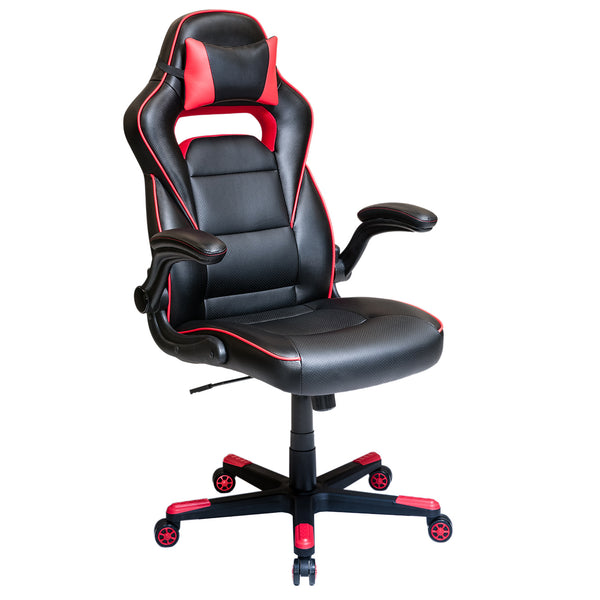 Techni Mobili Adjustable Racer Sports Office Chair With Detachable Headrest Pillow And Flip Up Arms Black With Red
