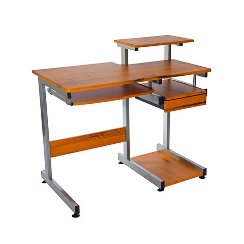 Techni Mobili Complete Computer Workstation Desk   Colors: Wood Grain U0026 Gray