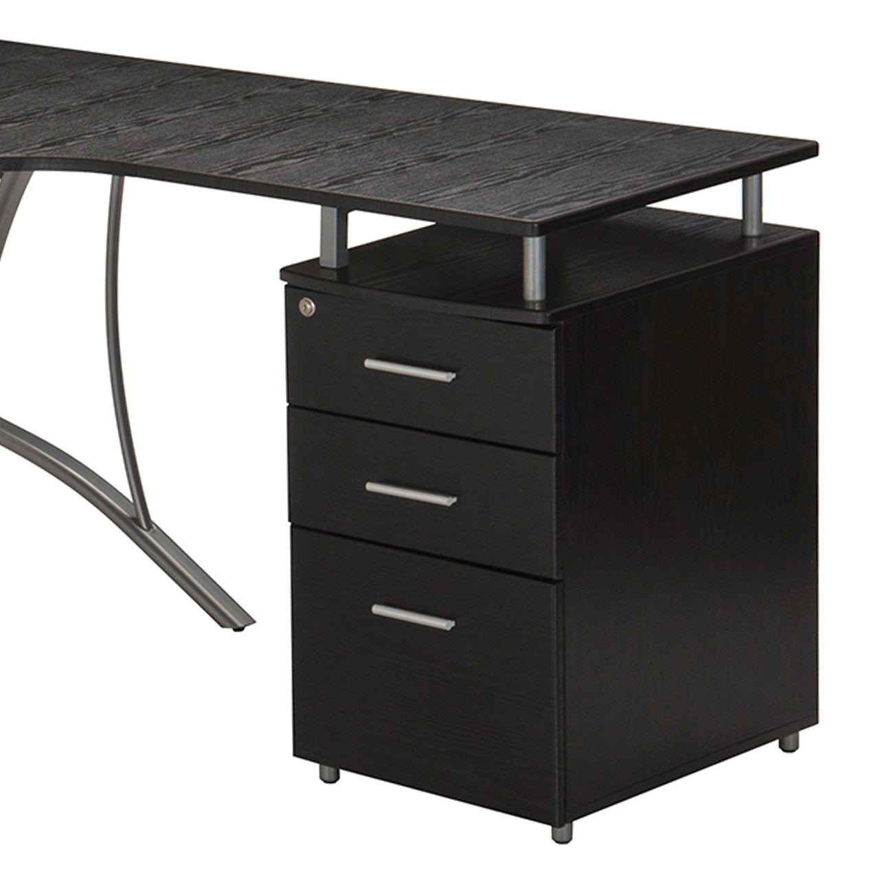 Techni Mobili 4804l Modern L Shaped Computer Desk W File