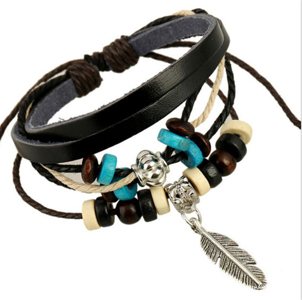 Leather Bracelet with Feathers - Wave Essentials