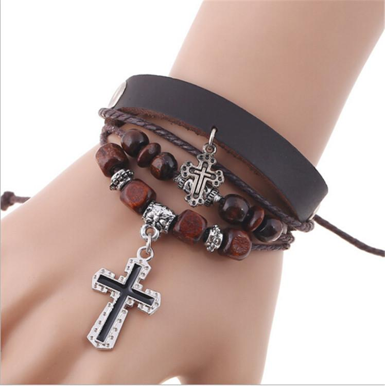 Leather Bracelet with Cross - Wave Essentials