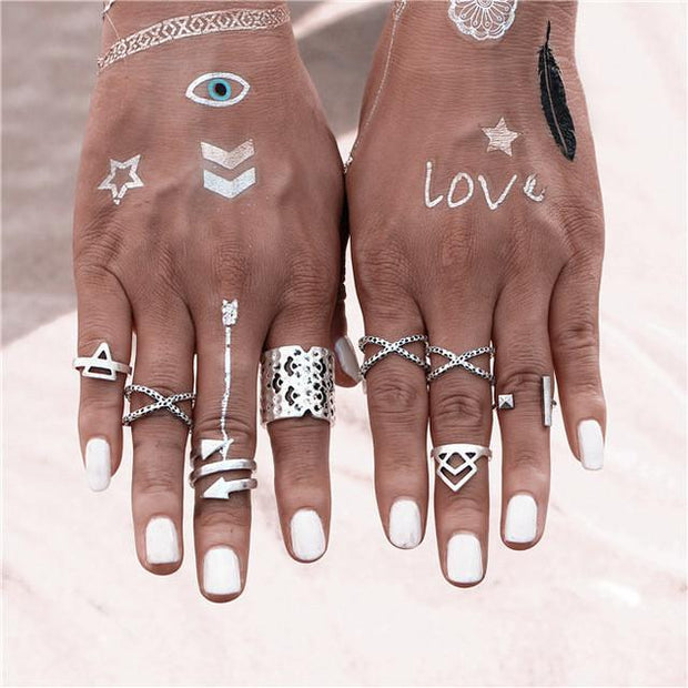 8PCS\SET Vintage Bohemian Style Rings - Wave Essentials
