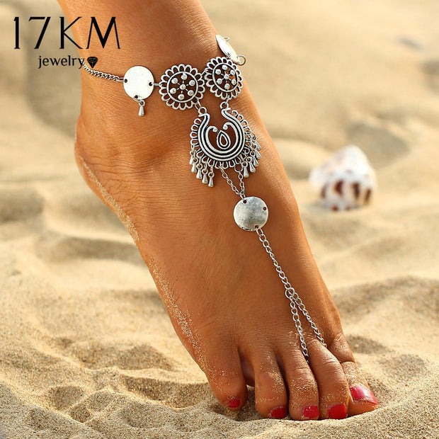 Antique Silver Retro Coin Anklets - Wave Essentials