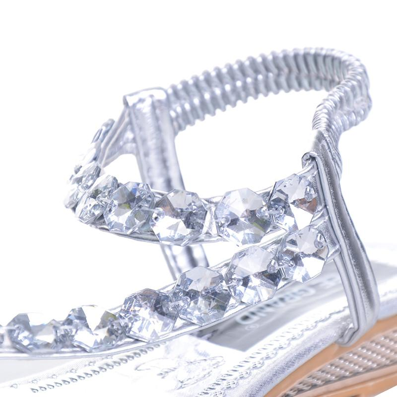 Metallic Rhinestone Sandal - Wave Essentials