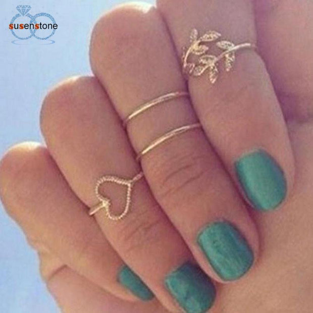 Gold Leaf Heart Rings Set - Wave Essentials