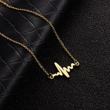 Stainless Steel Heartbeat Wave Necklace