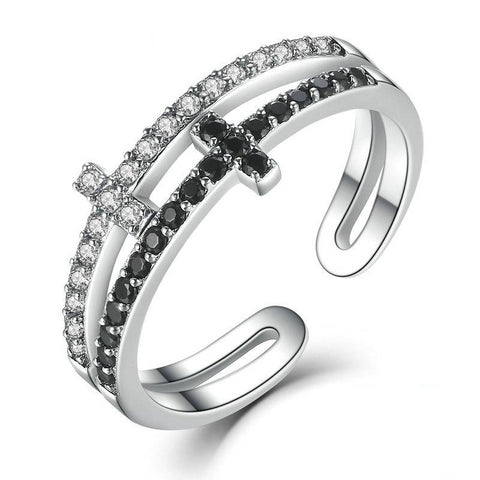Sterling Silver Layered Cross Ring