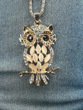 Crystal Rhinestone Owl Necklace