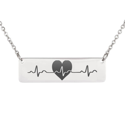Personalized Engraved Heartbeat Necklace