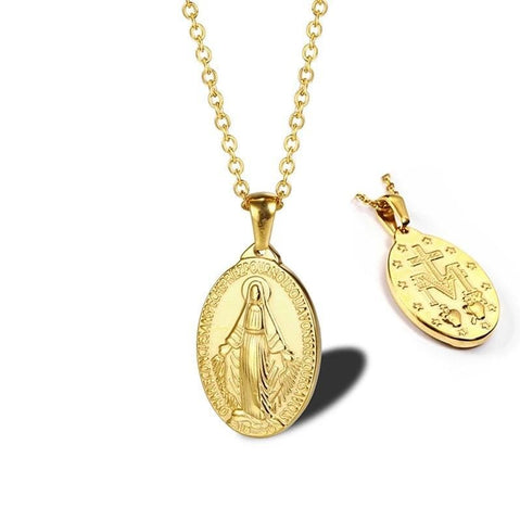 Miraculous Medal Virgin Mary Necklace