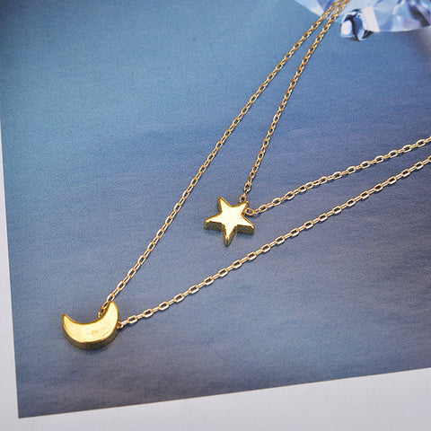Moon and Star Layered Necklace