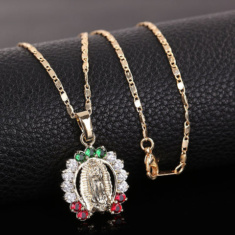 Virgin Mary Horseshoe Necklace