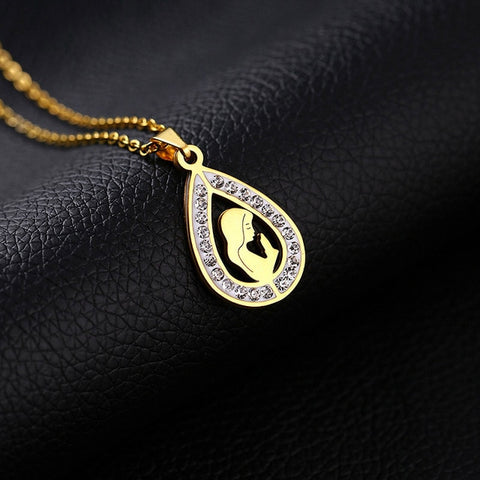 Stainless Steel Teardrop Virgin Mary Necklace