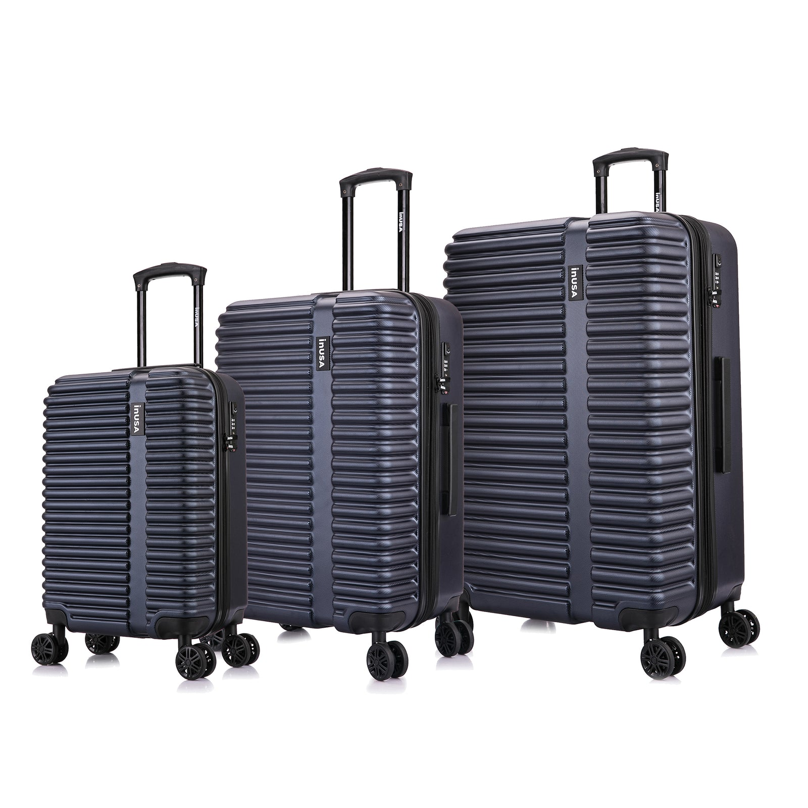 Load image into Gallery viewer, Ally, hardside, 3 piece set, smal, medium, large, luggage set, 8 wheels, 4 wheels