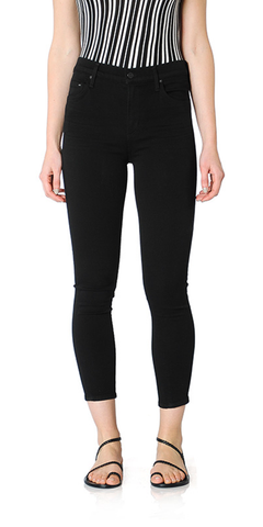 Rocket Crop High Rise Skinny Jeans in All Black
