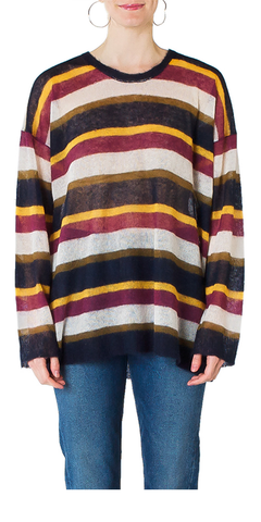 Striped Mohair Crewneck