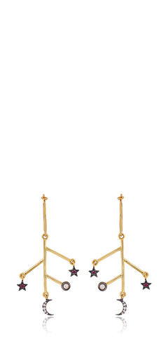 Moon Star Branch Hoop Earrings