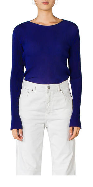 Long Sleeve Pleated Top Violet