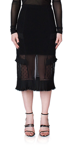 Lace Inset Midi Skirt
