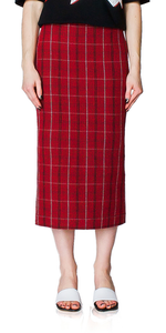 Red Check Kick Back Midi Skirt