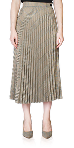 Check Pleated Midi Skirt