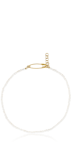 Seed Pearl Safety Pin Choker