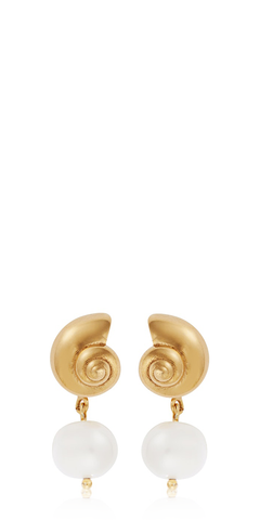 Nautilus Shell Pearl Studs