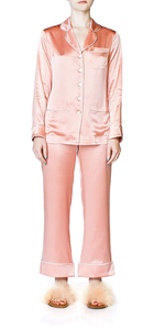 Coco Peach Silk Pajama Set