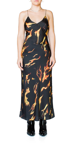 Flame Print Slip Dress