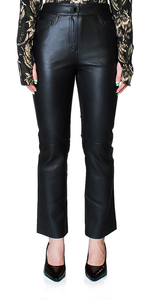 Avery Cropped Leather Flare Pants