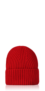 Ribbed Cashmere Beanie Red