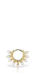 Yellow Gold Pearl Coronet Earring