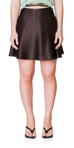 A-Line Silk Mini Skirt